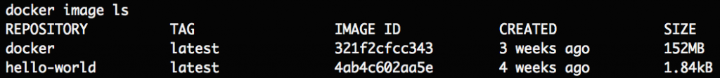 Running docker image ls to reveal the hello-world image is installed